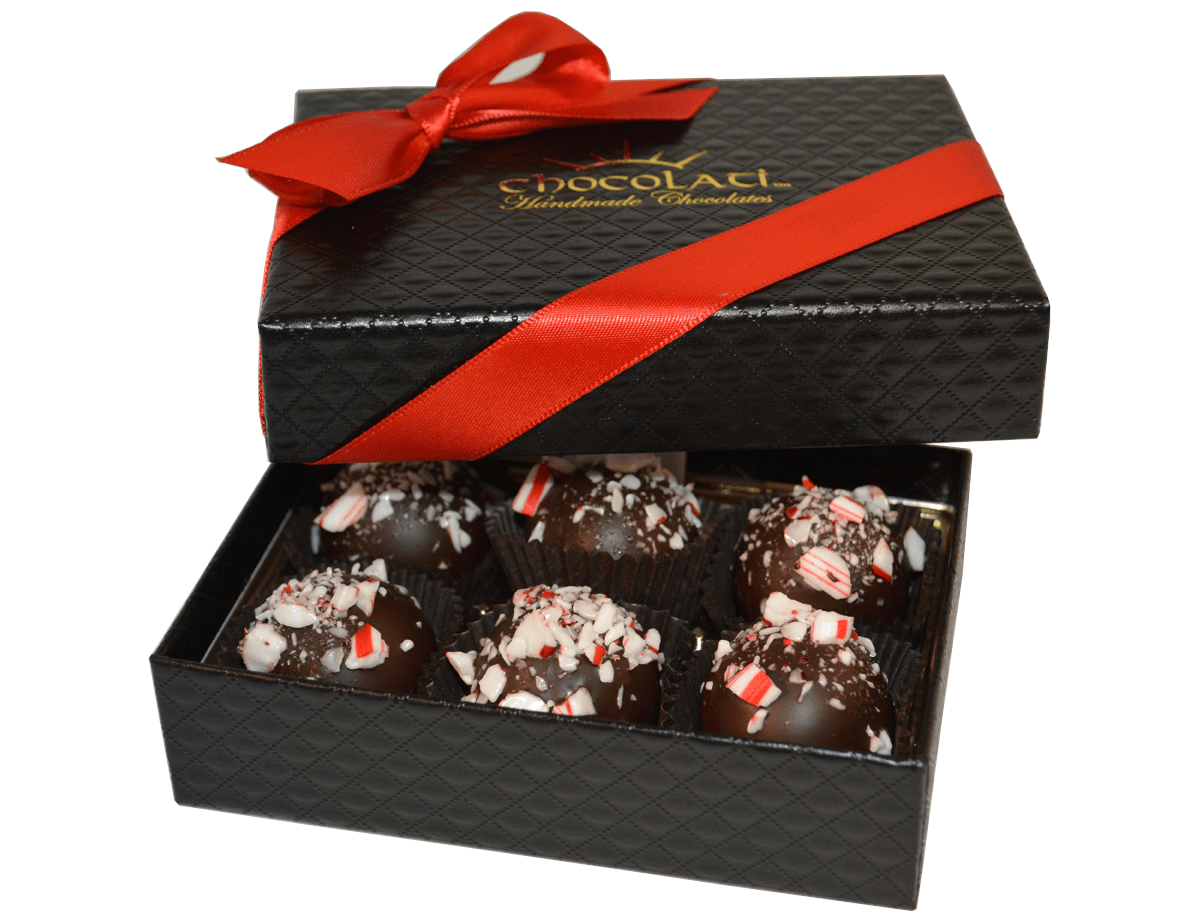 6pc. Candy Cane Truffle Gift Box