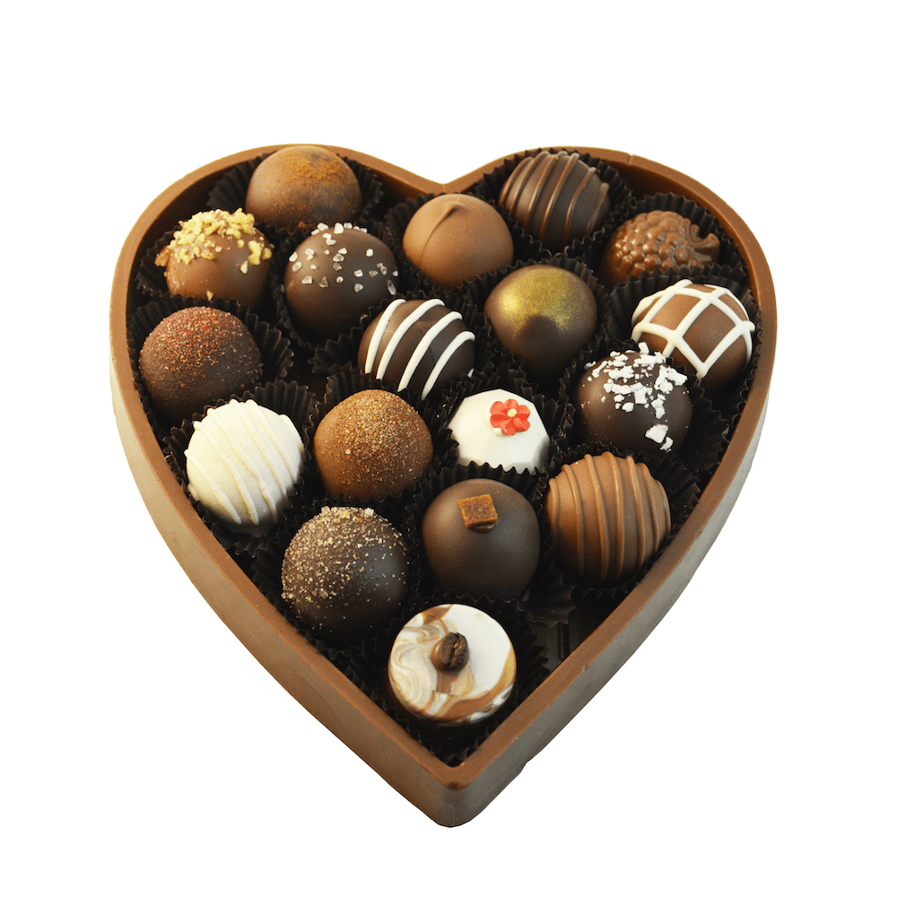 18 pc Solid Chocolate Heart Gift Box