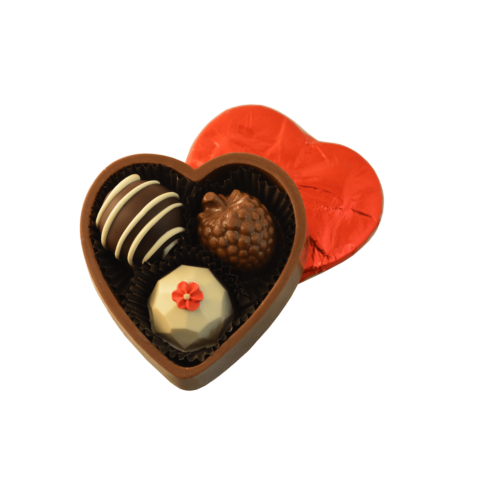 3 pc Solid Heart Chocolate Gift Box