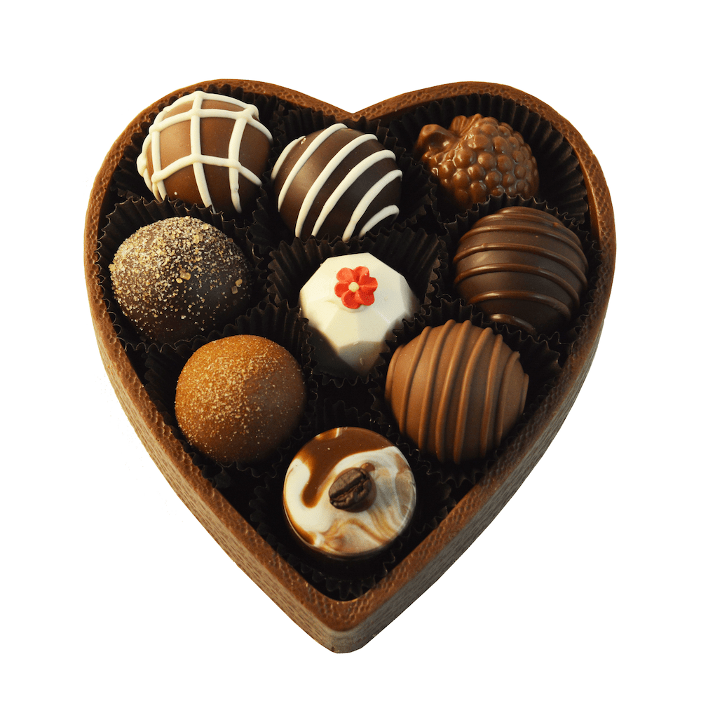 9 Pc Solid Chocolate Heart Gift Box