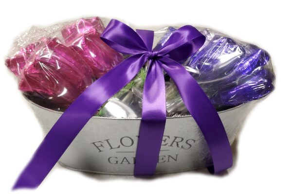 Comes cello wrapped with purple bow