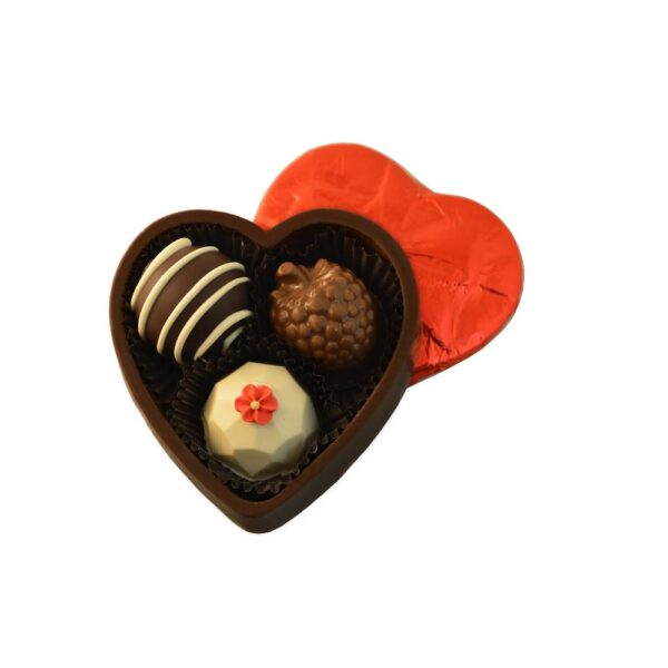 3 pc dark chocolate heart box