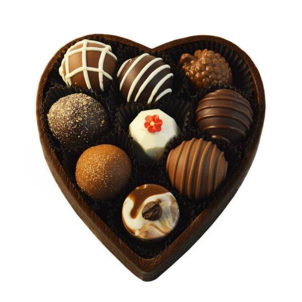 9 pc dark chocolate heart box